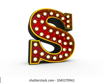 High quality 3D illustration of the letter S in Broadway style with light bulbs illuminating it over white background