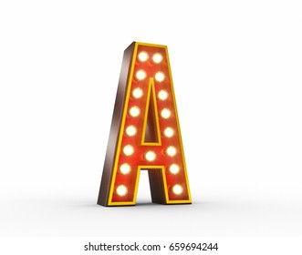 High quality 3D illustration of the letter A in vintage style with light bulbs illuminating it.