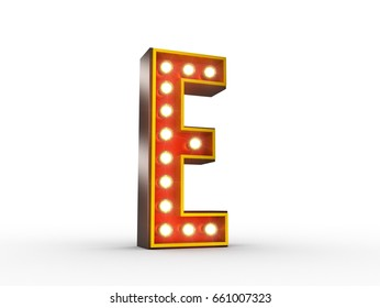 High quality 3D illustration of the letter E in vintage style with light bulbs illuminating it.