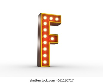 High quality 3D illustration of the letter F in vintage style with light bulbs illuminating it.