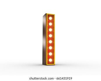 High quality 3D illustration of the letter I in vintage style with light bulbs illuminating it.