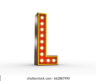 High quality 3D illustration of the letter L in vintage style with light bulbs illuminating it.