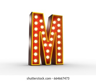 High quality 3D illustration of the letter M in vintage style with light bulbs illuminating it.