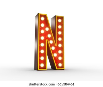 High quality 3D illustration of the letter N in vintage style with light bulbs illuminating it.