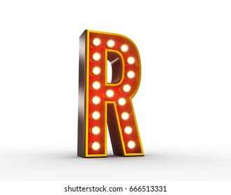 High quality 3D illustration of the letter R in vintage style with light bulbs illuminating it.