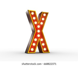 High quality 3D illustration of the letter X in vintage style with light bulbs illuminating it.
