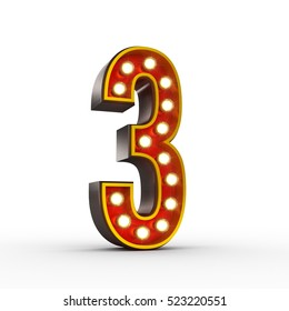 High quality 3D illustration of the number three in vintage style with light bulbs illuminating it. Clipping path included.