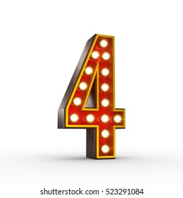 High quality 3D illustration of the number four in vintage style with light bulbs illuminating it. Clipping path included.