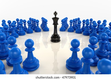 High quality 3D render of black chess king encircled by over fifty blue pawns. Superb reflections and medium depth of field over bright reflecting surface.