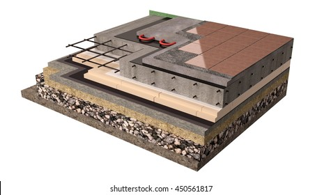 High quality 3d render computer image of the construction of concrete slab foundation