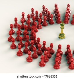 High quality 3D render of golden chess king encircled by over fifty red pawns. Superb reflections and medium depth of field over bright surface.