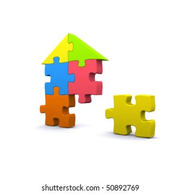 High quality 3D render of a puzzle house