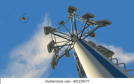 High quality 3D render of a UAV drone inspecting a cellular phone tower. Fictitious UAV and wireless tower antenna array; slightly overcast blue sky and motion blur for dramatic effect.