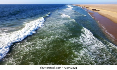 High quality aerial drone photo of desert sand peninsula, ocean shore and seals on beach near lagoon with view of distant sea horizons at Namibia's Atlantic west coast, southern Africa