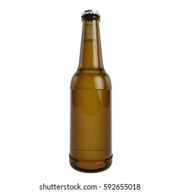 High Quality Beer Bottle Isolated on White Background 3D Render, 3D Illustration