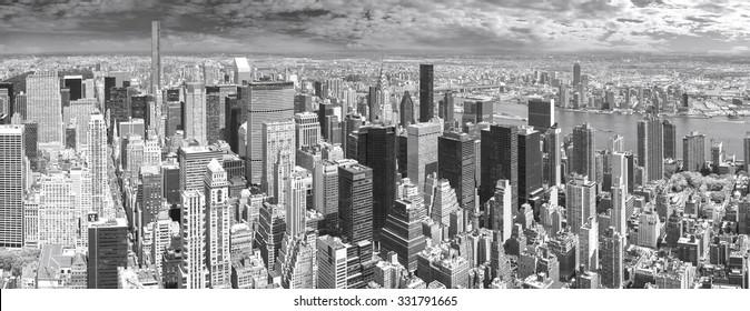 High quality black and white panoramic view of Manhattan, New York, USA.