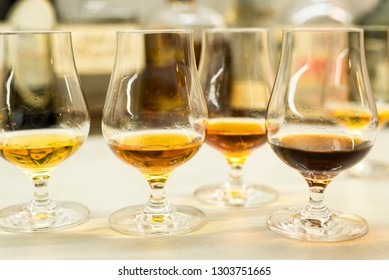 High quality Caribbean rum in modern glass for tasting