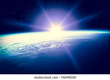 High quality Earth image and sunrise. The elements of this image furnished by NASA.