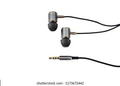 High Quality Gold Black Earphones or Ear Buds with 2.5mm Jack on iSolated White Background.