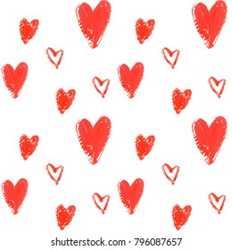 High quality hand drawn seamless pattern with cute hearts isolated on white background. Good for fabric, wrapping paper, prints etc.