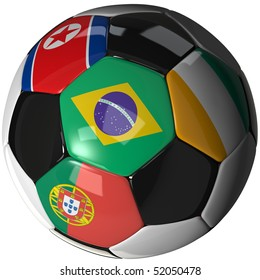 High Quality, hi-res 3D render of soccer ball with the four flags of the competing teams