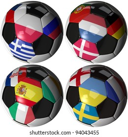 High quality, hi-res 3D render of four soccer balls carrying the flags of all sixteen competing teams of the 2012 European Soccer Championship ordered by groups. Clipping pathes included.