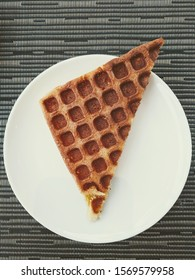 High Quality Image of Triangle Cooked Waffle on a Plate