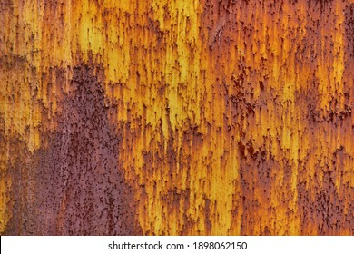 High quality metal texture with orange paint, rust and cracks. Vintage steel background. Abstract old metal dirty surface with rust for the design. Grunge textured orange wall