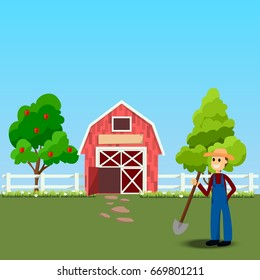 High quality original trendy  illustration of farmer with shovel near old Barn and green field with apple tree on background