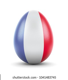 High quality realistic rendering of an glossy egg with the flag of France.(series)