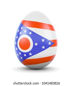 High quality realistic rendering of an glossy egg with the flag of Ohio.(series)