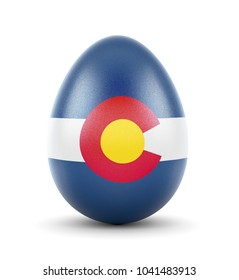 High quality realistic rendering of an glossy egg with the flag of Colorado.(series)