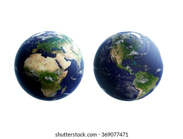 High quality render of Earth. Transparent water, shaded relief, natural colors, clouds coverage. Isolated on white. Clipping map included. World map courtesy of NASA.