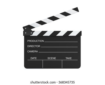 High quality render of a movie clapper board. It is isolated on white. Clipping path is included.