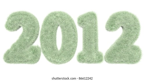 high quality rendering of hairy lettering 2012 in green white