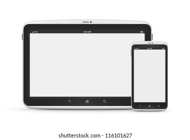 High quality and very detailed realistic illustration of modern digital android tablet with mobile smartphone isolated on white.
