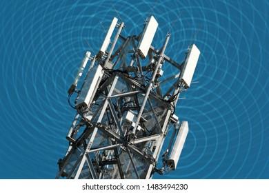 High radio mast with visible electrosmog