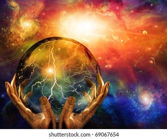 High Resolution 3D Illustration Energy observed in sphere
