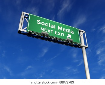 High resolution 3D illustration of freeway sign with a custom message. Social Media next exit!