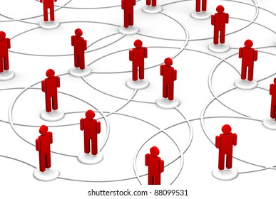 High resolution 3D illustration of icon people link by communication lines.