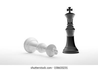 High resolution 3D render of black and white chess kings on white background. Black wins.