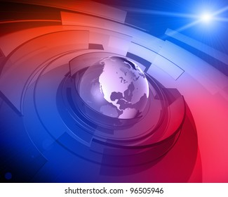High resolution 3D render of Earth globe with abstract shapes rotating around and lens flare in the background.