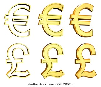 High resolution 3D render of golden Pound and Euro currencies symbols isolated on white background