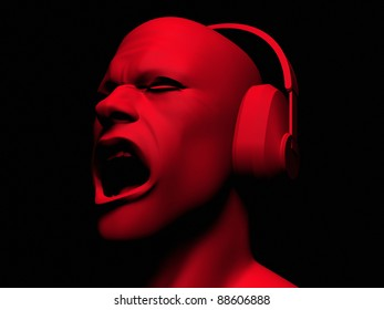 High resolution 3D render of man wearing headphones and yelling.