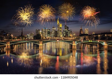 High resolution aerial panoramic view of Frankfurt, Germany with fireworks in the sky