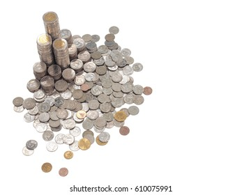 High resolution aerial shot of coin towers in coins kingdom. Stacks of different value Thai baht coins look like tower or castle surrounded by coins on white background with text space on the right