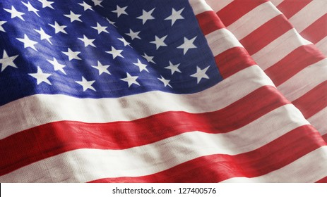 High resolution American Flag flowing with texture fabric detail.