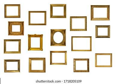 high resolution antique golden textured masterpiece frame set with copyspace isolated on white backround