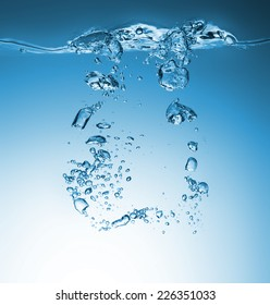 High resolution Beautiful wave and bubbles of pure drinking water in closeup