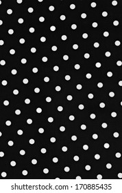 High resolution black fabric with small white polka dot background. The manmade material is made of polyester and spandex. This high resolution scan shows every detail in the material.